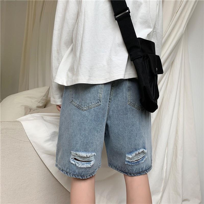夏季 破洞牛仔短褲男韓國寬鬆休閒五分褲子青少年潮牌馬褲