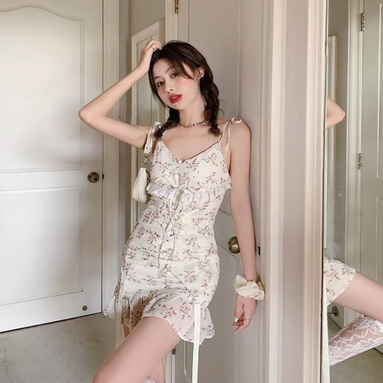 法式性感碎花吊帶仙女裙子春夏季蕾絲復古短裙新款魚尾連身裙 格蘭小鋪