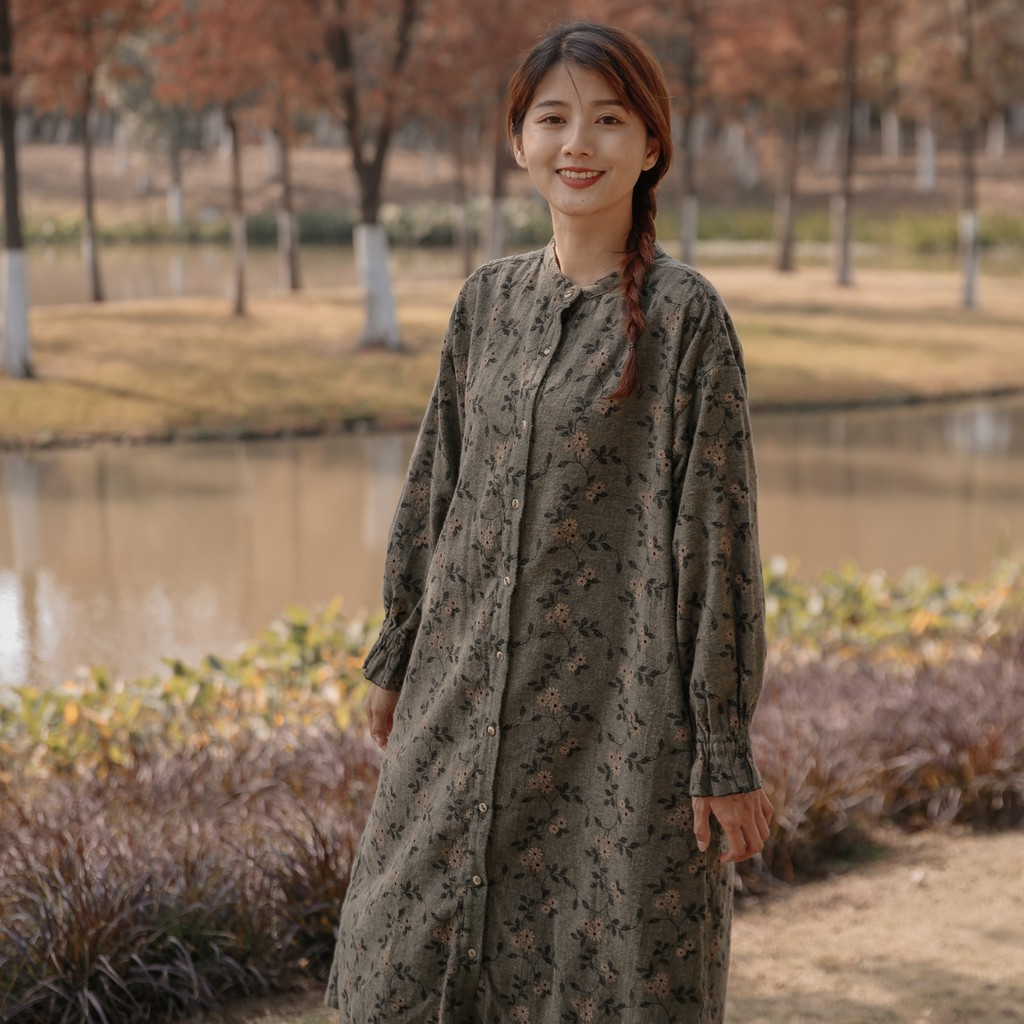 DoisQueen 單排釦印花縮袖純棉長袖洋裝