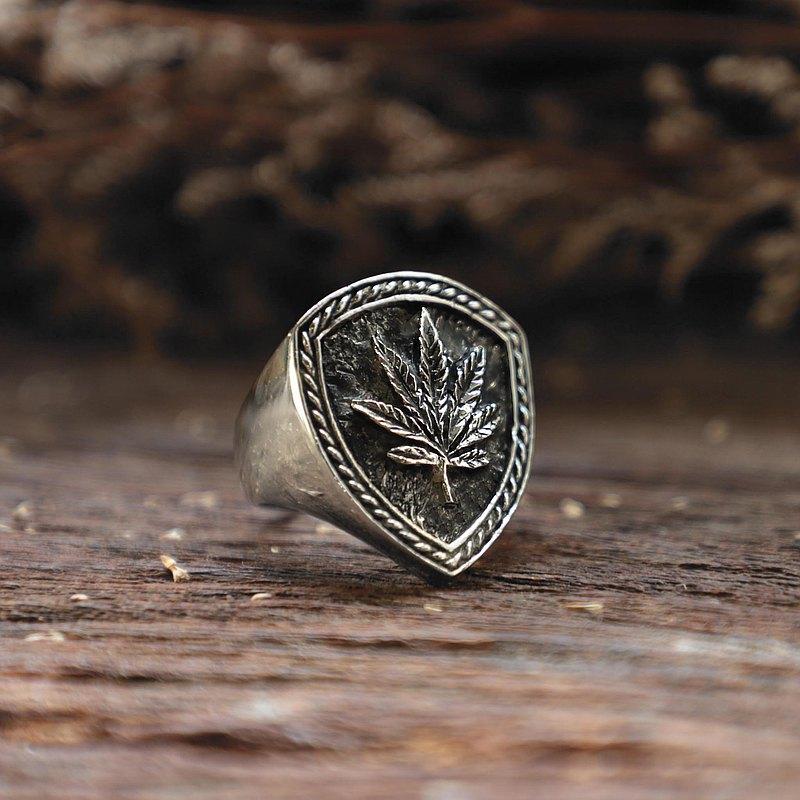 925纯银雷鬼风格的男性大麻环