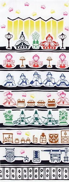 【日本製】【和布華】 日本製 注染拭手巾 女兒節人偶裝飾圖案 SD-4961 - 和布華