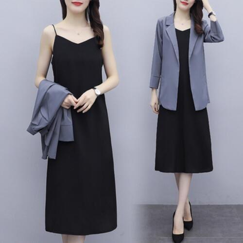 兩件套 外套 內搭裙 中大尺碼L-5XL新款網紅小西裝外套搭中長款吊帶套裝2F086-3081.胖胖美依