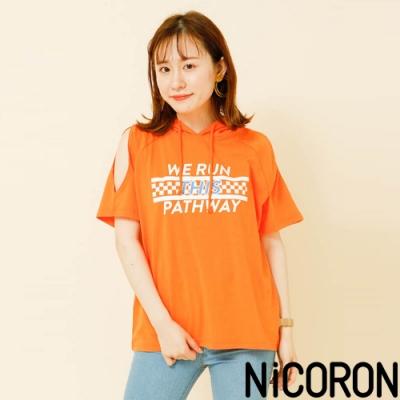 NiCORON 標誌露肩簍空連帽上衣