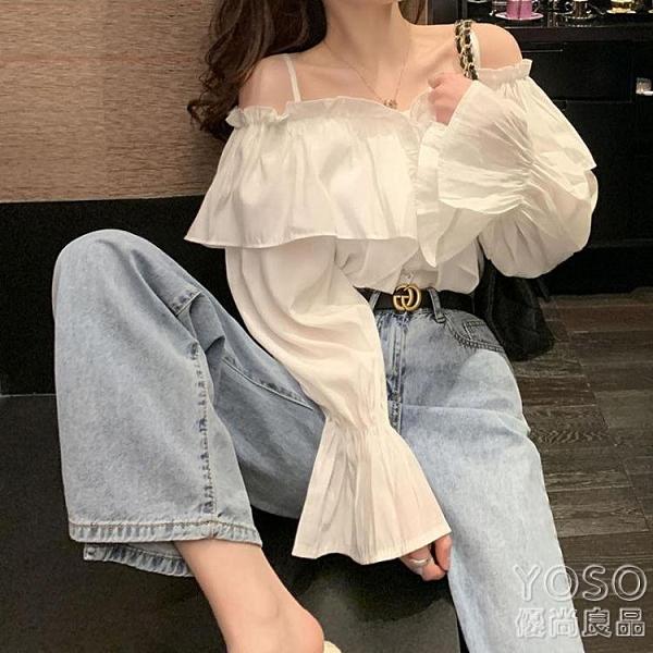 一字肩襯衫 白色一字肩吊帶襯衫女設計感小眾春流行韓版時尚洋氣襯衣上衣 618大促銷