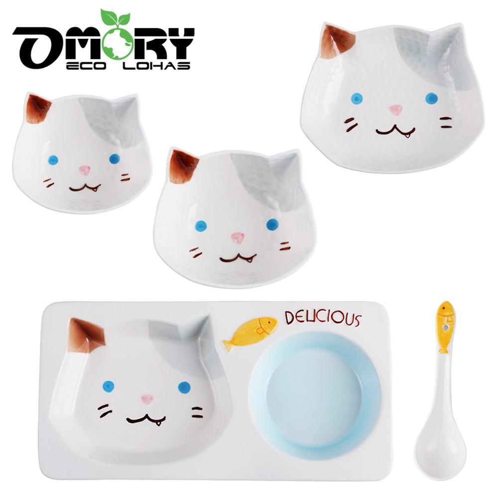 【OMORY】鄉村田園陶瓷分隔餐盤/陶瓷碗/8.5吋盤/湯匙-俏皮貓