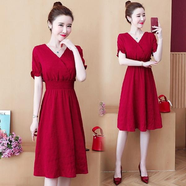 大碼洋裝 L-5XL 夏季胖MM紅色V領顯瘦減齡法式中長款連身裙9123-NB30-B 韓依紡