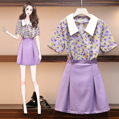 青春紫碎花雪紡襯衫搭配俏麗紫色短裙套裝L-4XL-KVOLL