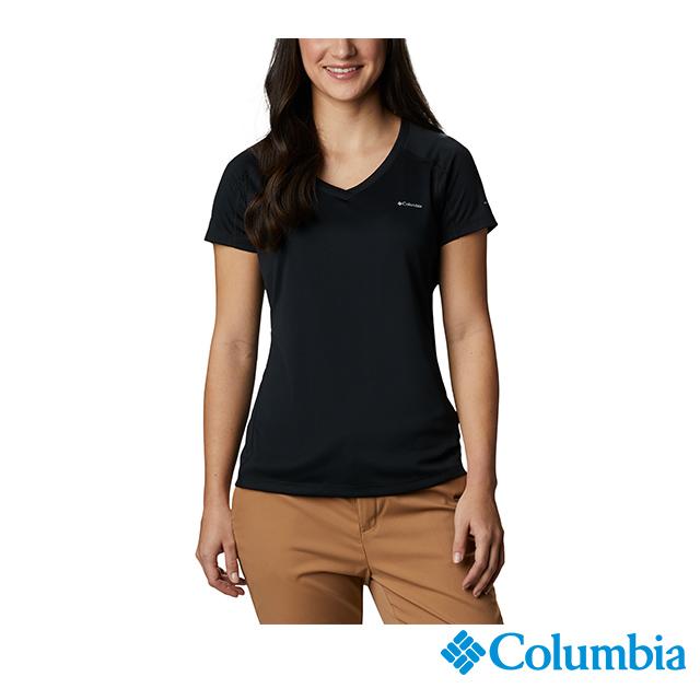 Columbia哥倫比亞 女款-UPF30涼感快排短袖上衣-黑色 UAR69140BK