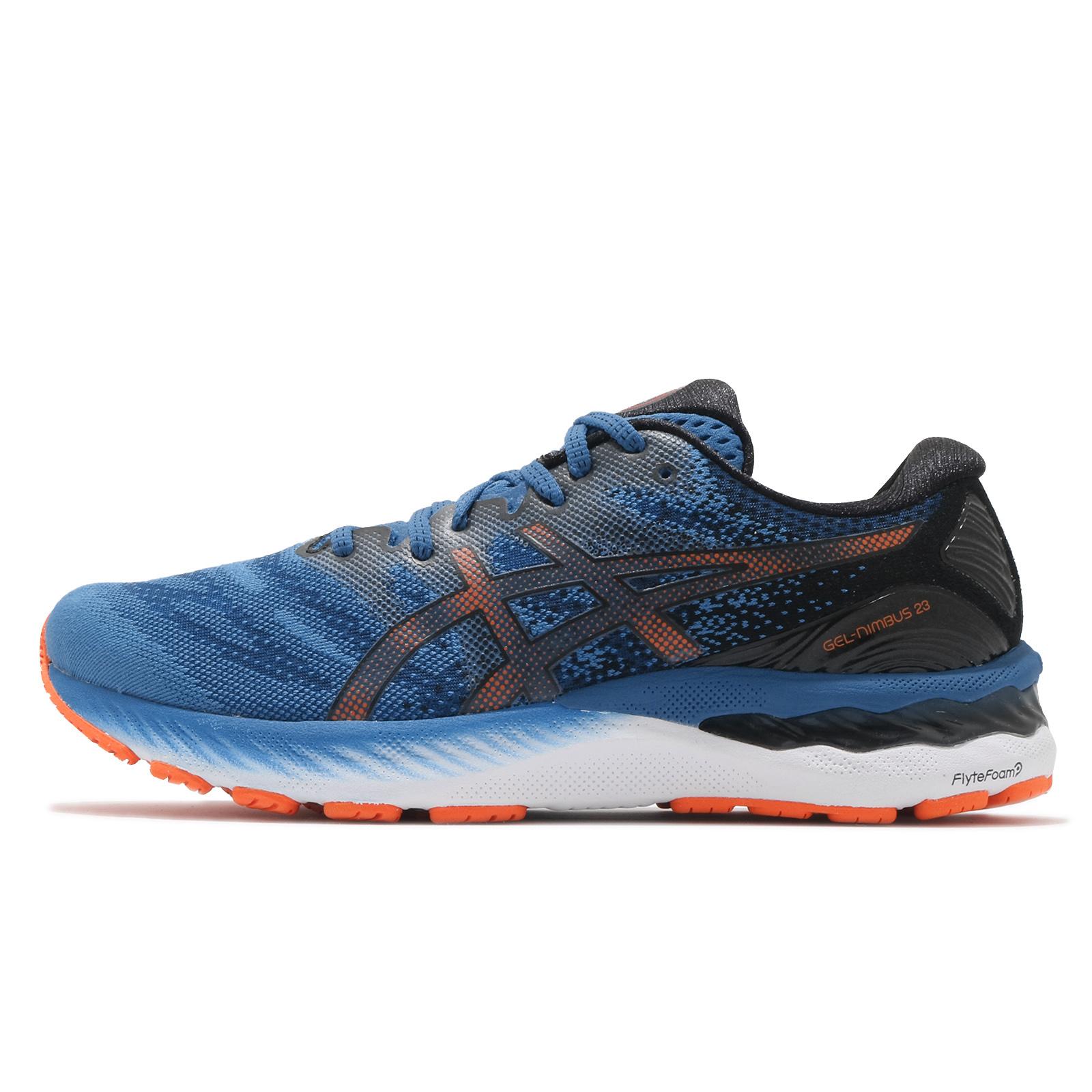 Asics 慢跑鞋 Gel-Nimbus 23 男 藍 橘 高緩衝 馬拉松 運動鞋【ACS】 1011B004-400