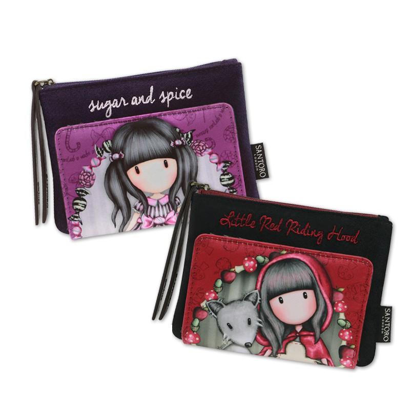 【Gorjuss葛潔絲】空靈娃娃 天鵝絨緞面手拎包/零錢包/短夾