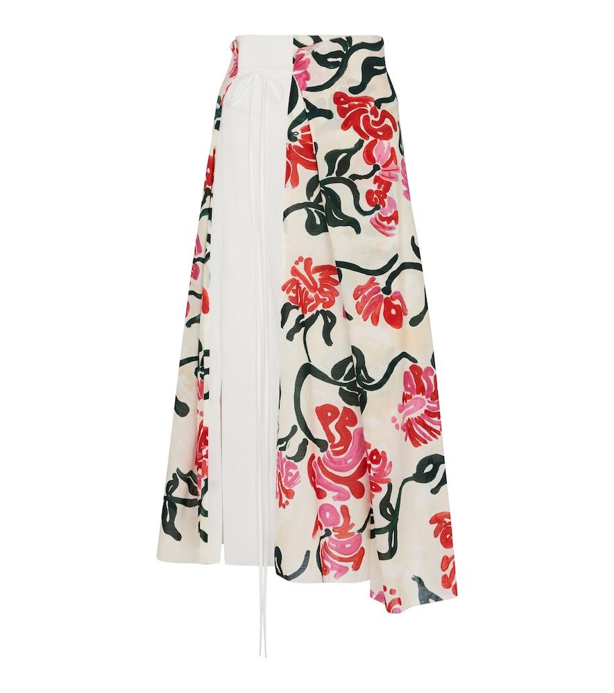 Floral cotton wrap skirt