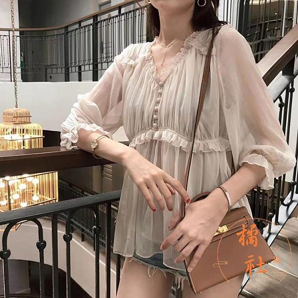 雪紡衫女娃娃衫夏設計感溫柔風上衣氣質小衫【橘社小鎮】