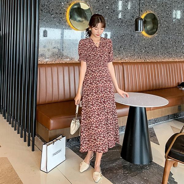 雪紡連身裙短袖洋裝S-XL9227夏季法式優雅松緊腰顯瘦修身紅色碎花連身裙H325紅粉佳人