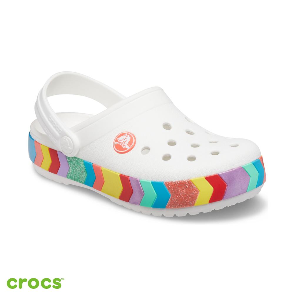 Crocs卡駱馳 (童鞋) 卡駱班彩虹條小克駱格-207007-100