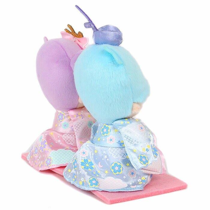 大賀屋 日貨 雙子星 娃娃 玩偶 和服娃娃 女兒節 裝飾 擺飾 KIKI LALA 三麗鷗 正版 J00050557