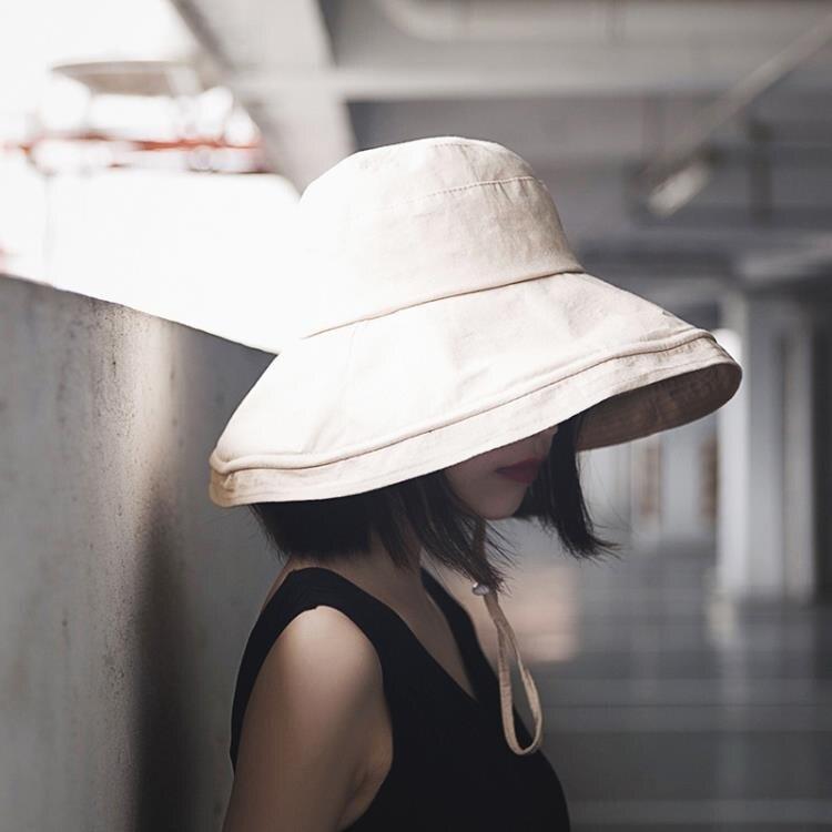 大帽檐日系遮臉夏天大檐漁夫帽子女夏季韓版百搭遮陽潮時尚防曬帽