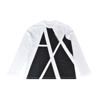 A│X Armani Exchange黑白對比字母LOGO純棉圓領長袖T恤(S/白x黑)
