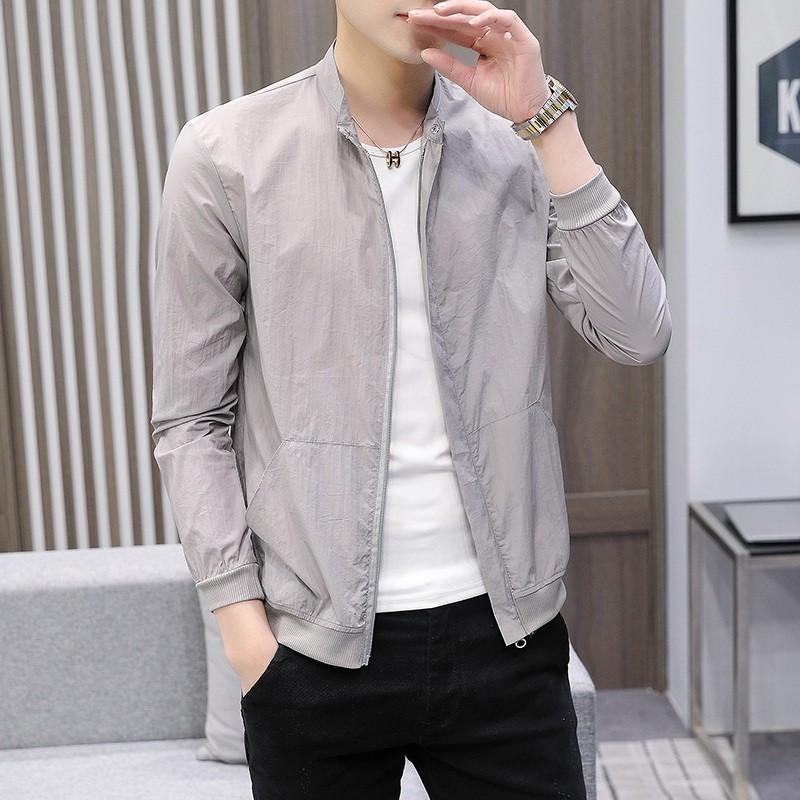 【HOT 本舖】M-4XL 男士夾克 薄款長袖開衫外套 防紫外線皮膚衣 夏季防曬外套 修身外套 小清新 純色簡約 大碼