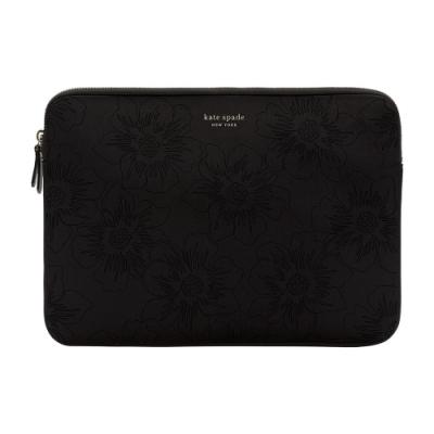 【kate Spade】13吋筆電蜀葵壓花緩震保護包/袋-黑色