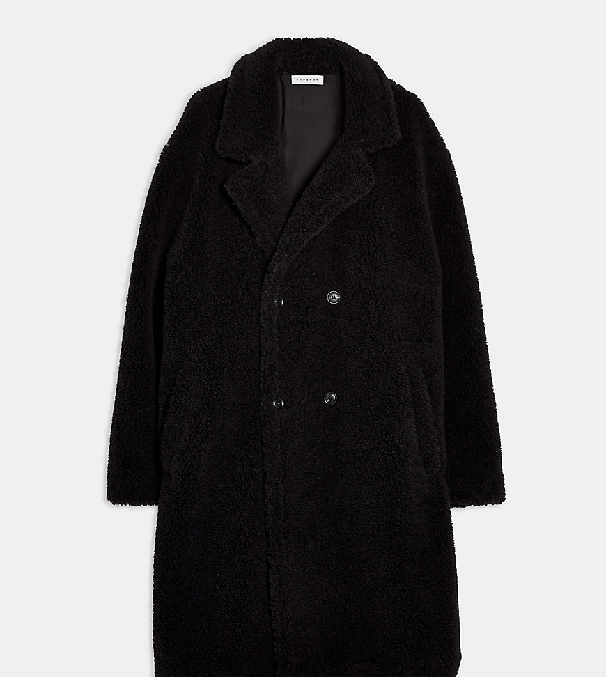 Topman Big & Tall teddy double breasted longline coat in black