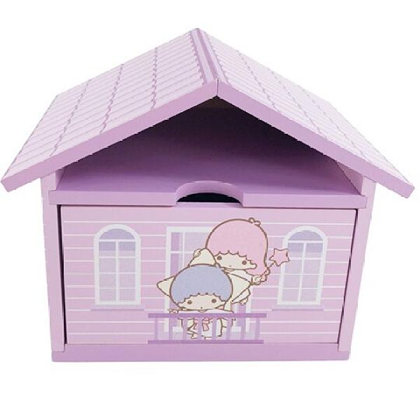 小禮堂 雙子星 屋型木質單抽收納盒 木抽屜盒 文具盒 飾品盒 小物盒 可堆疊 (紫) 4710374-19164