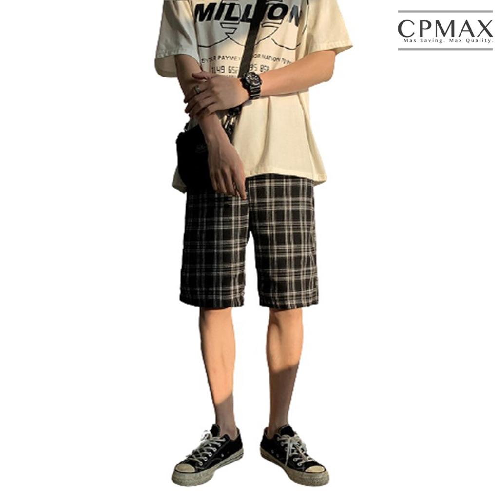 CPMAX 日系格子短褲 寬鬆直筒休閒五分褲 休閒短褲 短褲 男下著 五分褲 寬鬆短褲 直筒五分褲 格子短褲 K87