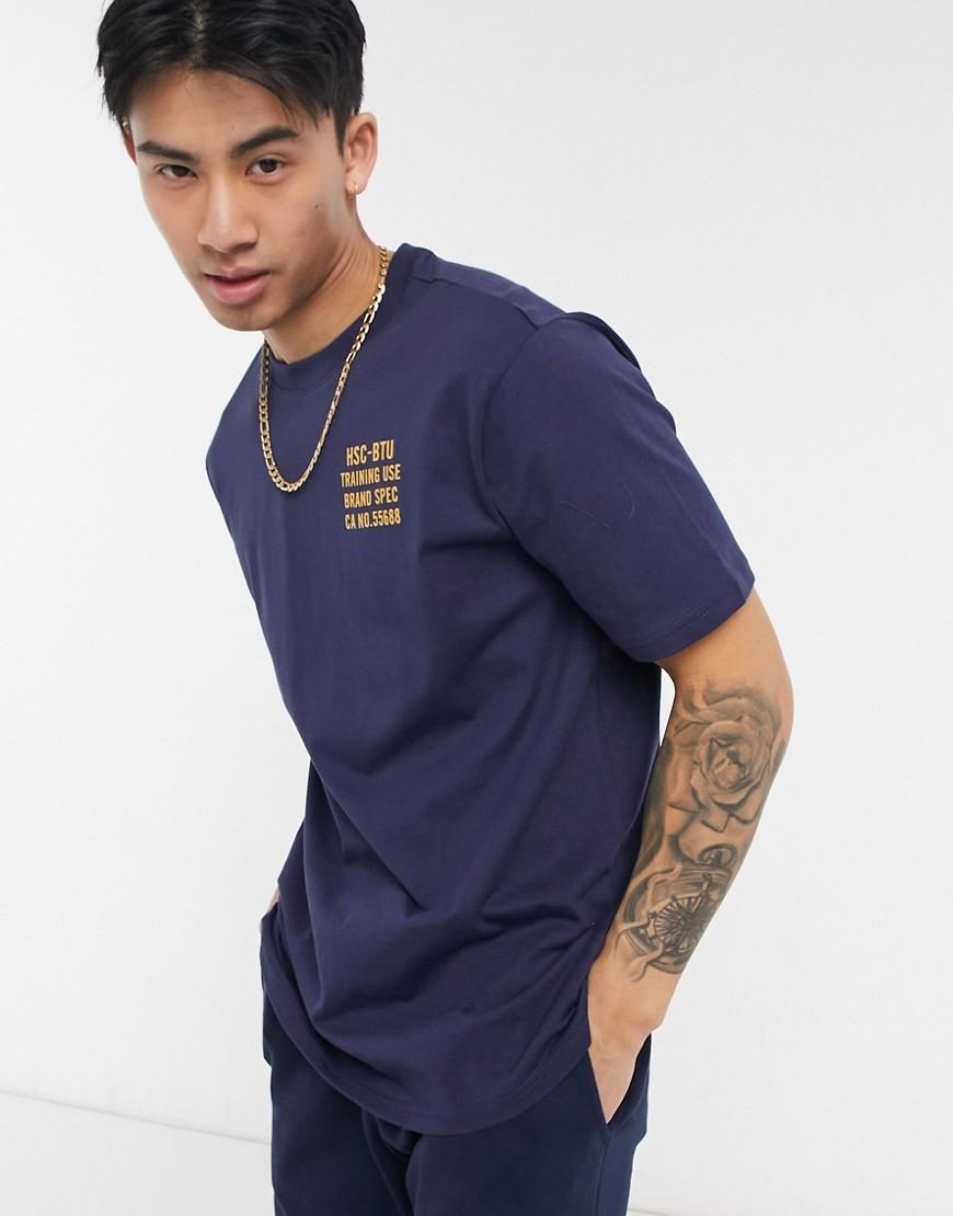 Herschel Supply Co crew neck chest logo t-shirt in navy