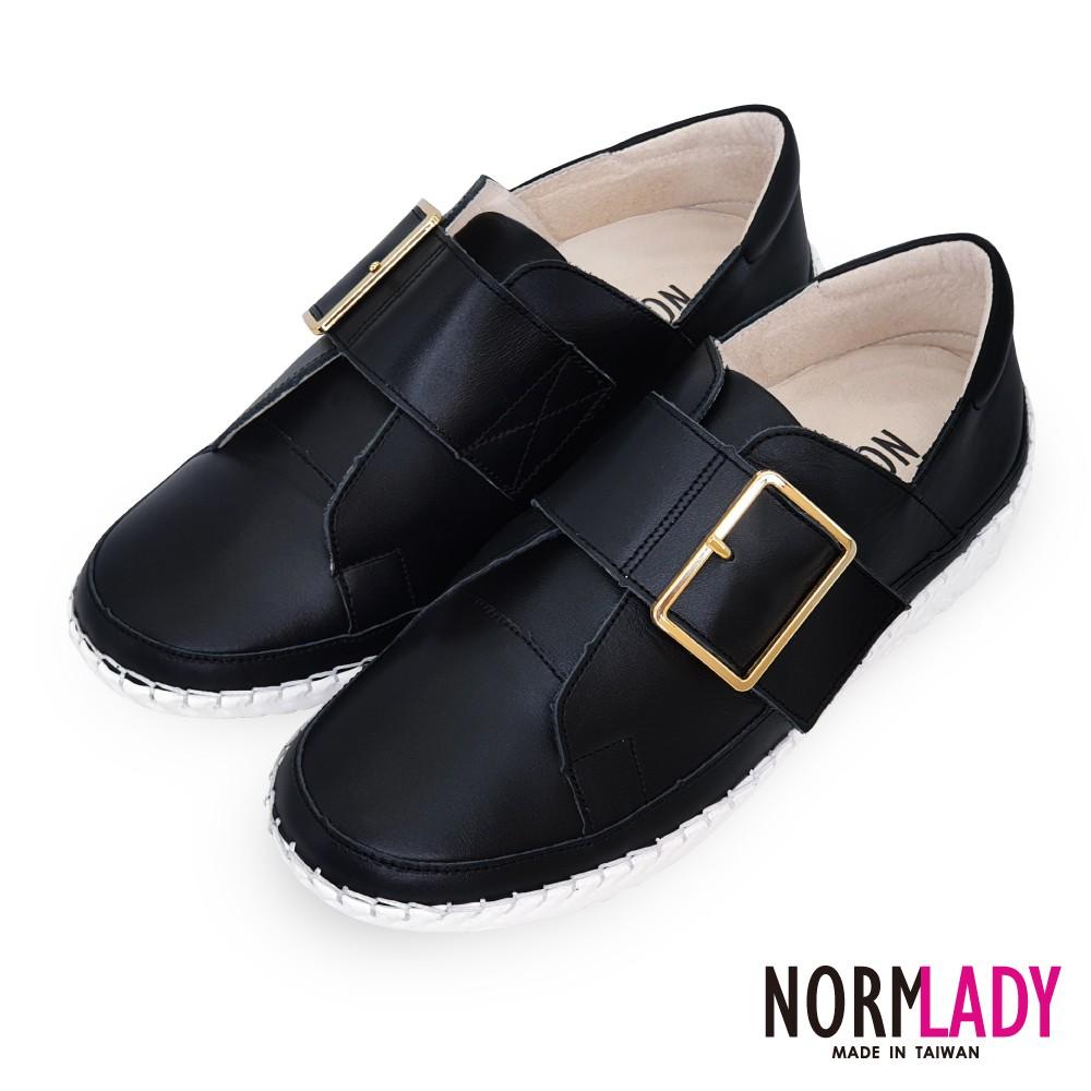 諾蕾蒂Normlady 女鞋 休閒鞋 懶人鞋 小黑鞋 MIT台灣製 真皮鞋 金屬大方釦磁石厚底氣墊球囊鞋(潮流黑)