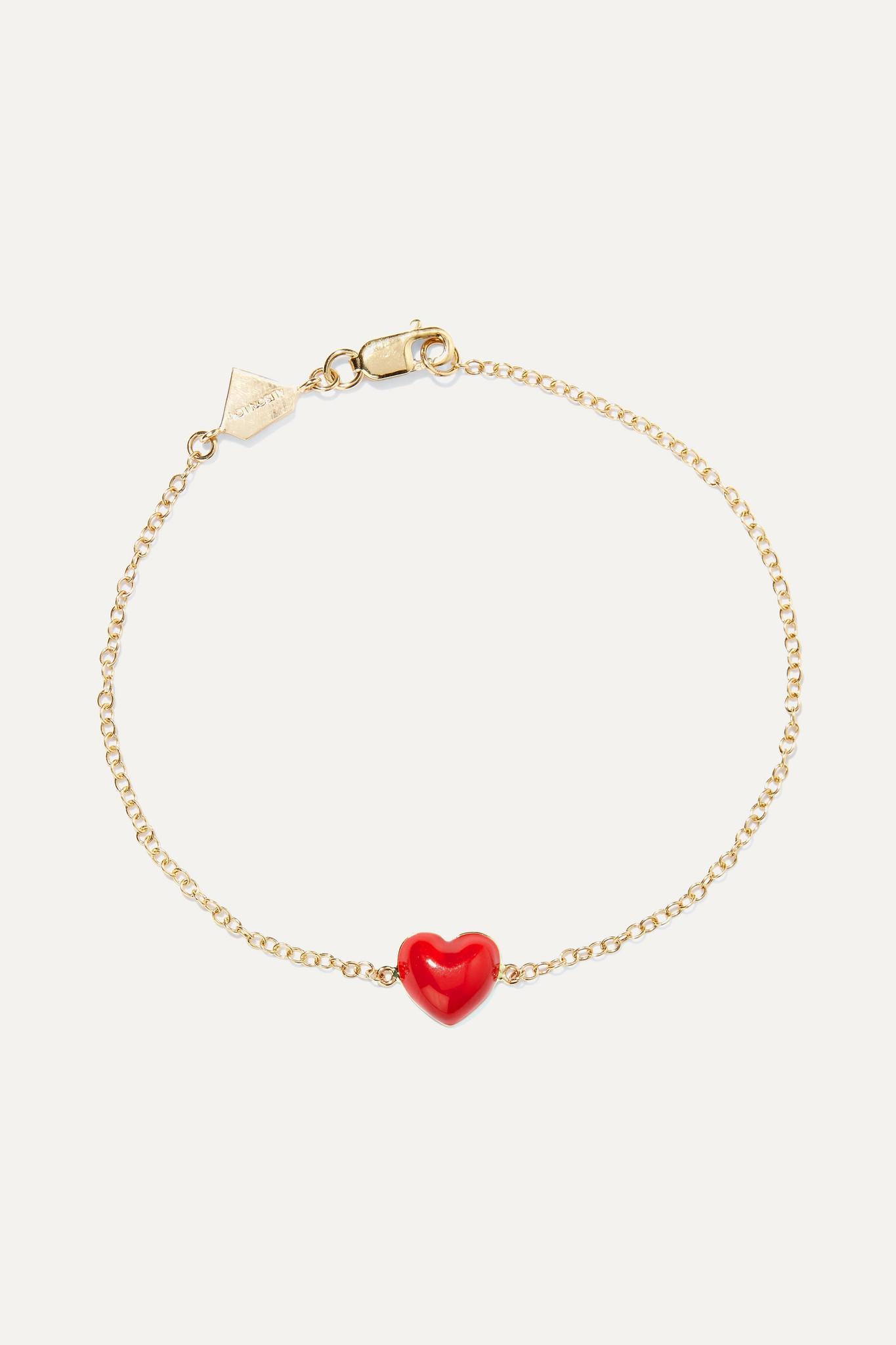 ALISON LOU - Heart 14-karat Gold And Enamel Bracelet - one size