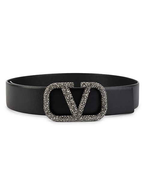 Valentino Garavani V Logo Strass Leather Belt