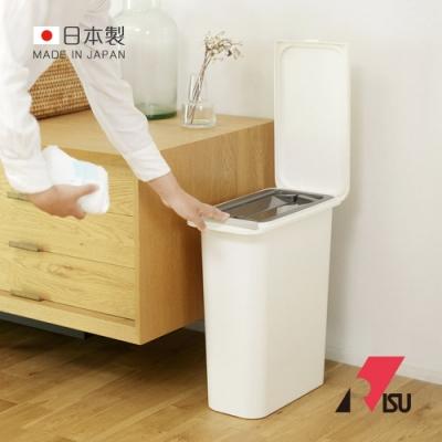 日本RISU 日本製纖形雙蓋防臭彈蓋式垃圾桶-21L