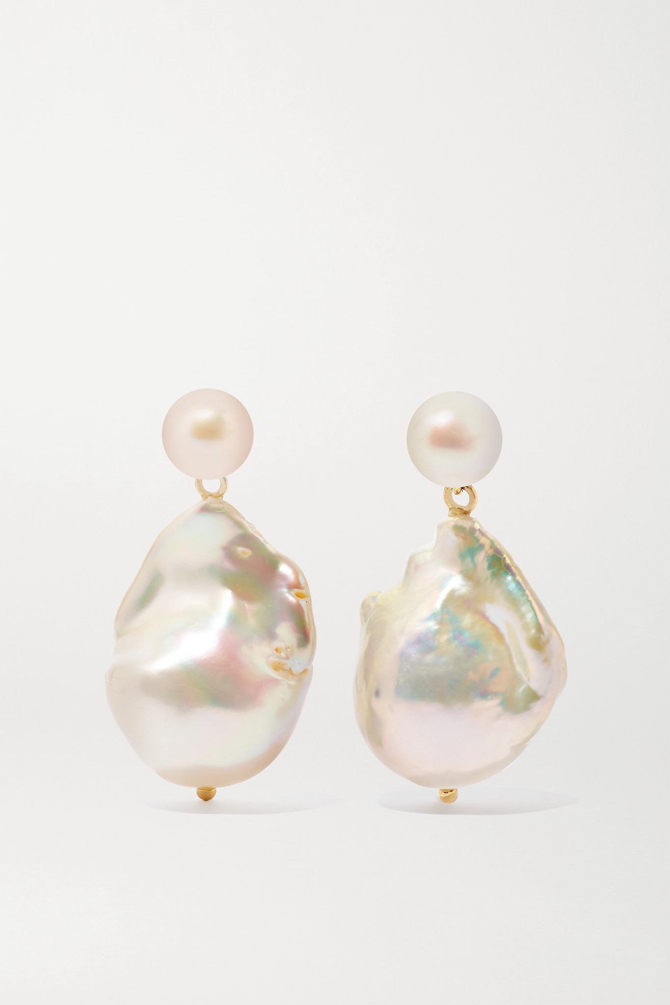 MATEO - Duality 14-karat Gold Pearl Earrings - one size