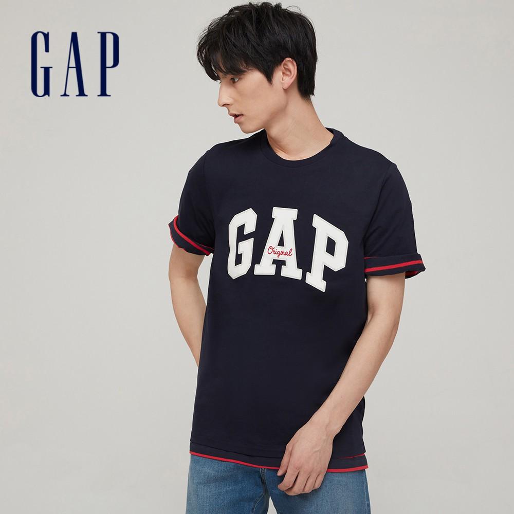 Gap 男裝 Logo純棉寬鬆圓領短袖T恤 848801-海軍藍