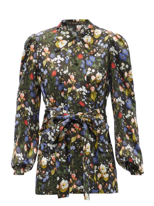 The Vampire's Wife - The Penitent Floral-print Silk-satin Blouse - Womens - Black Multi
