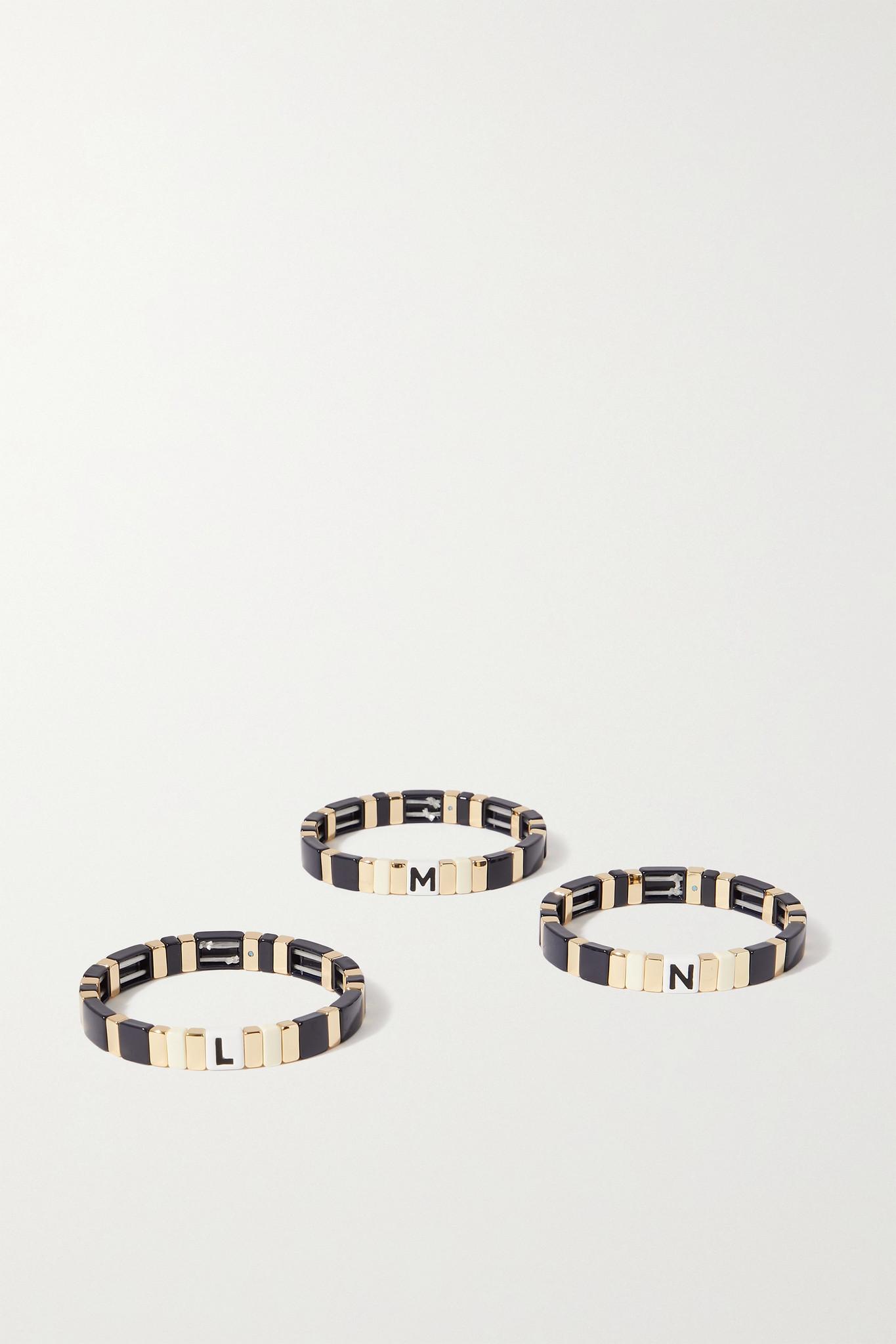 ROXANNE ASSOULIN - Neutral Alphabet Soup Enamel And Gold-tone Bracelet - Blue - C