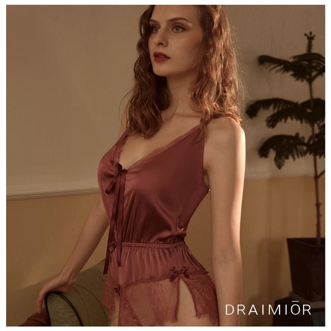 久慕雅黛 DRAIMIOR睫毛蕾絲法式輕柔連體衣。玫紫