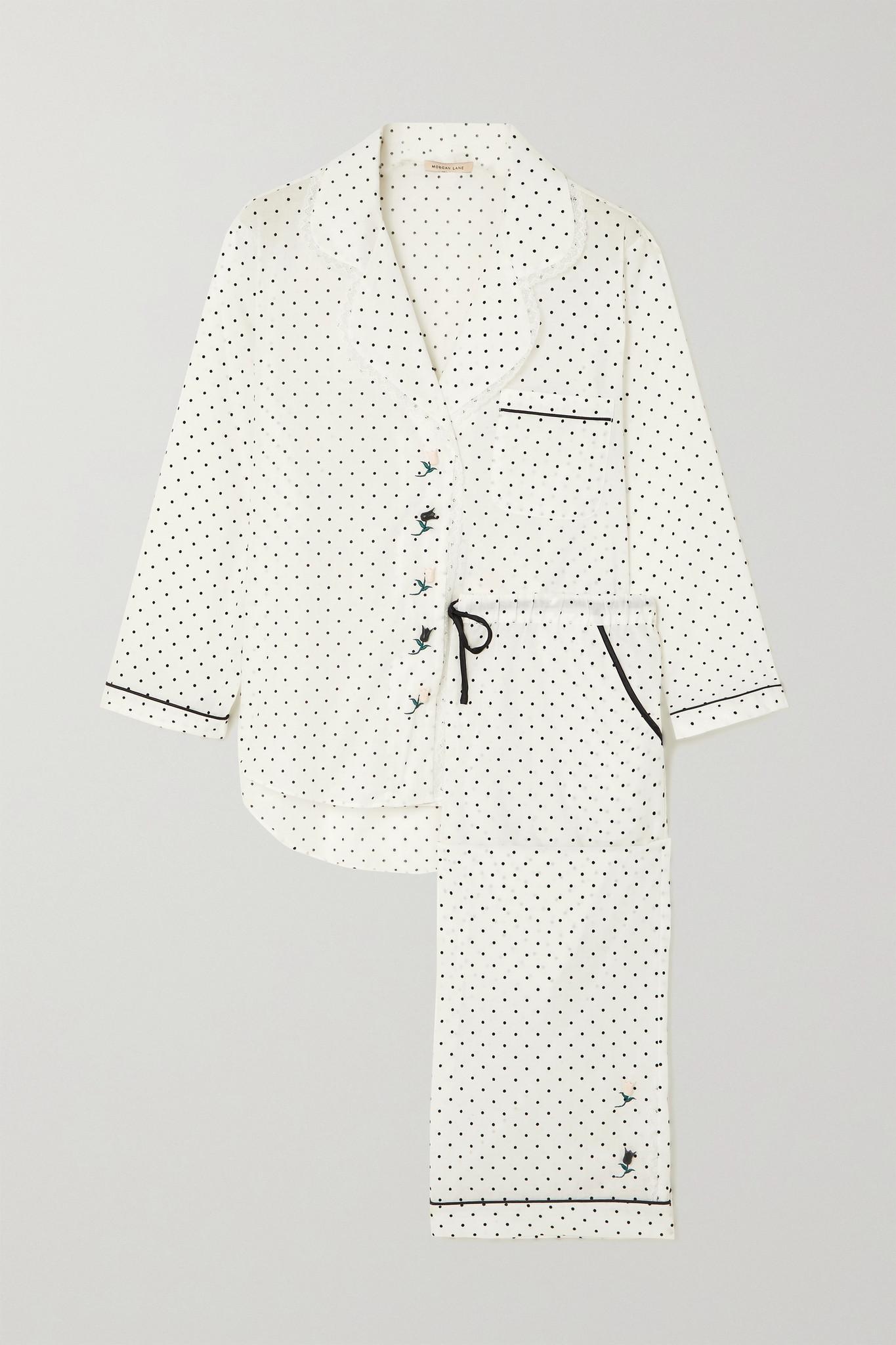 MORGAN LANE - Kingsley Polka-dot Cotton Pajama Set - White - small