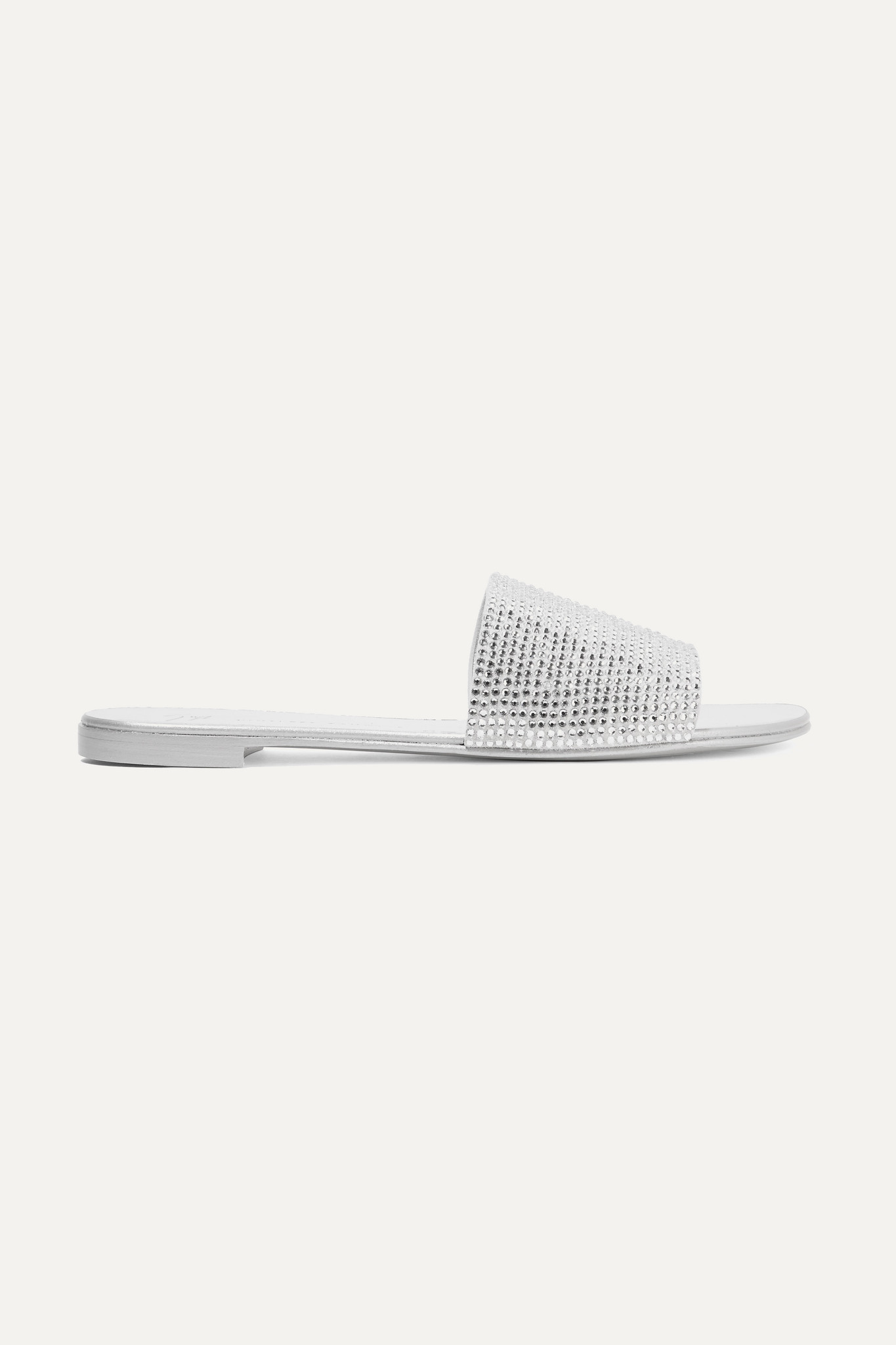 GIUSEPPE ZANOTTI - Adelia 水晶缀饰绒面革拖鞋 - 银色 - IT35.5