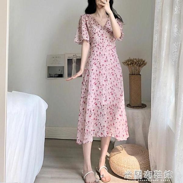 夏季洋裝 新款夏茶歇桔梗法式長裙顯瘦雪紡chic溫柔仙女初戀碎花連衣裙 快速出貨
