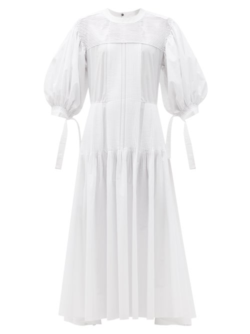 Jil Sander - Pintucked Cotton Maxi Dress - Womens - White