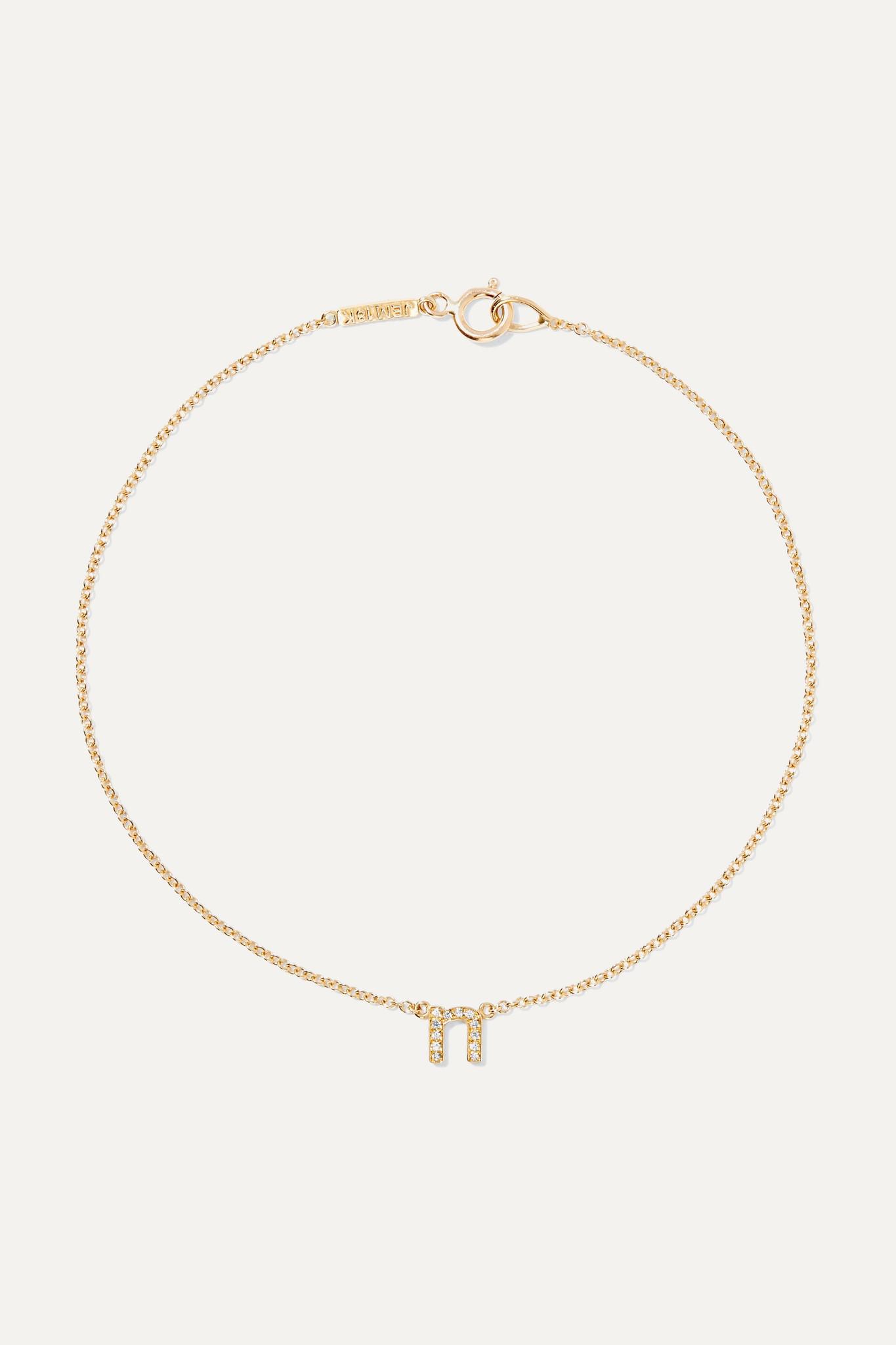 JENNIFER MEYER - Letter 18k 黄金钻石手链 - 金色 - C