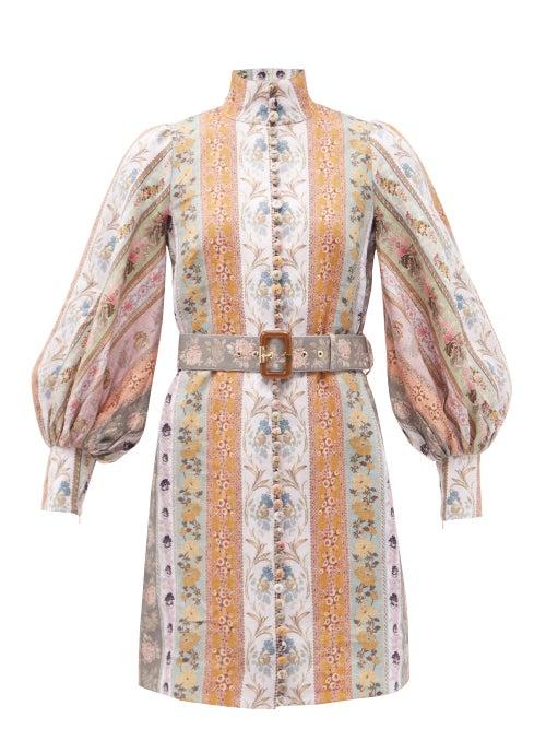 Zimmermann - Luminous Stripe Patchwork-print Linen Mini Dress - Womens - Multi Stripe