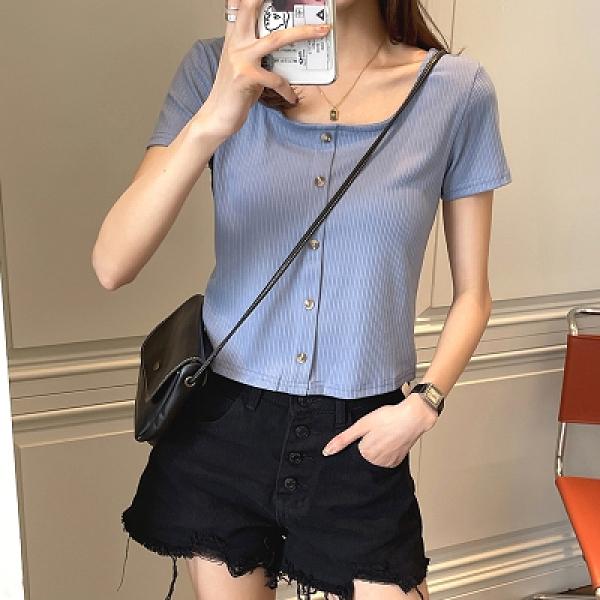 韓版T恤 短袖上衣棉針織短款t恤女短袖夏季露背高腰法式修身白色方領T305依佳衣