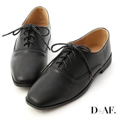 D+AF 英倫簡約.小方頭綁帶牛津鞋*黑