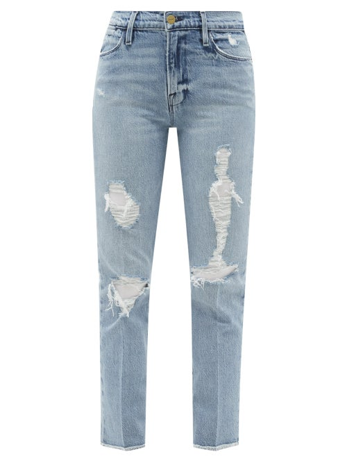 Frame - Le High Distressed Cropped Straight-leg Jeans - Womens - Light Denim
