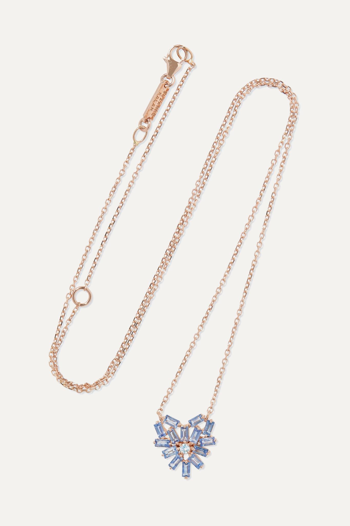 SUZANNE KALAN - 18-karat Rose Gold, Sapphire And Diamond Necklace - one size