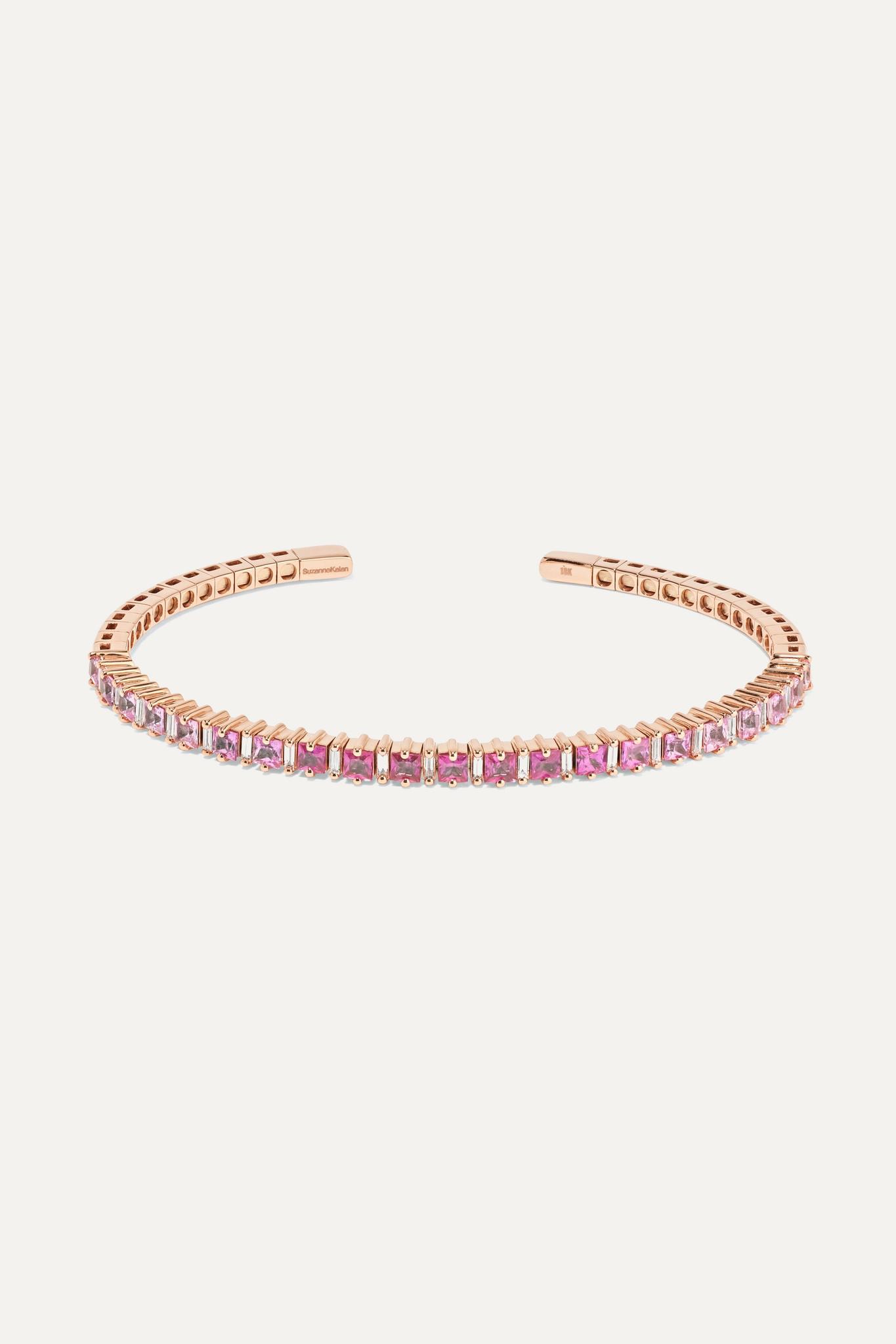 SUZANNE KALAN - 18-karat Rose Gold, Sapphire And Diamond Cuff - one size