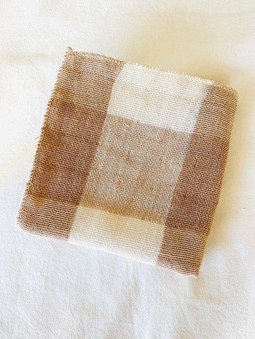 有機棉三重紗巾【織紋格子】小號和小號