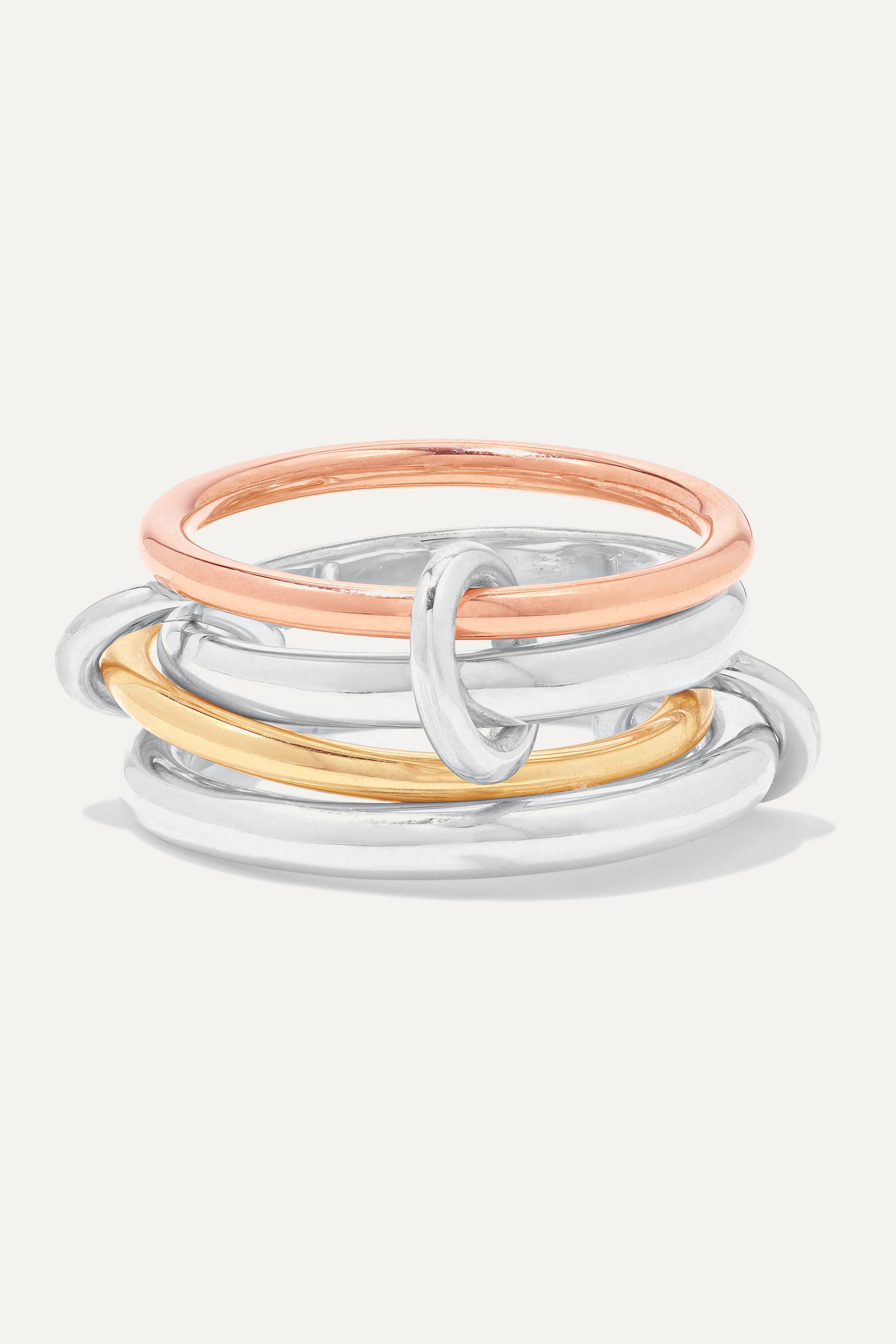 SPINELLI KILCOLLIN - Hyacinth Set Of Four 18-karat Yellow And Rose Gold And Sterling Silver Rings -