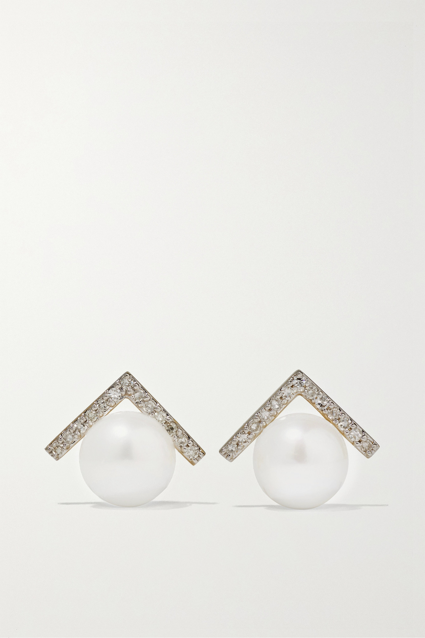 MATEO - 14-karat Gold, Diamond And Pearl Earrings - one size